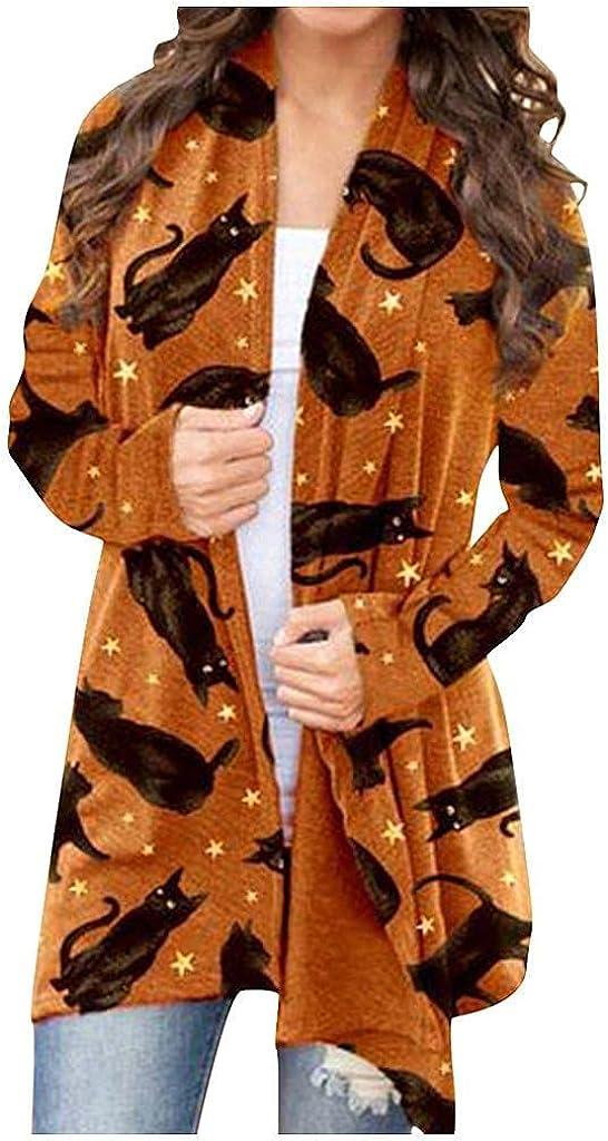 FABIURT Women's Halloween Long Sleeve Open Front Plus Size Cardigan Lightweight Funny Cute Pumpkin Black Cat Ghost Coat