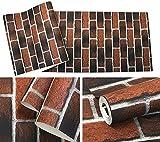 KYXXLD Rosso Mattone Sfondo Soggiorno Studio Camera da Letto Ristorante caffetteria 3D Wallpaper ocra Terreno