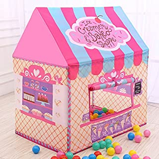 AMERTEER Princess Castle Play Tent for Girls Playhouse with Twinkle Stars String Lights Kids Game House for Indoor Outdoor...