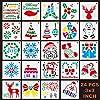 """クリスマスステンシルテンプレートメリークリスマス、サンタクロース、雪片、ボール、木、トナカイ、ギフトボックスクリスマスホリデークラフトパーティーデコレーション8x8CM 3""""x3""""(24パッククリスマスステンシル)"""