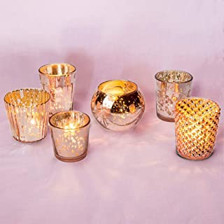 Luna Bazaar Best of Show Vintage Mercury Glass Candle Holders (Rose Gold, Set of 6) - Mercury Glass Votive Holders