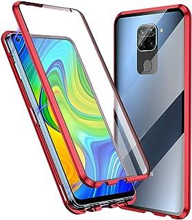 Jonwelsy 携帯電話 ケース Xiaomi Redmi Note 9 に適し 360度 前面と背面 強化ガラス 磁気吸着 金属フレーム カバー 完全保護 耐衝撃 擦り傷防止 磁性技術 (赤)