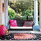 BrylaneHome Roma Resin Wicker Porch Swing w/ 2 Free toss...