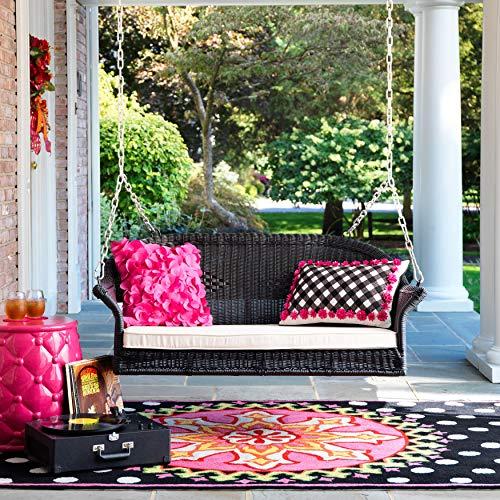 BrylaneHome Roma Resin Wicker Porch Swing, Black