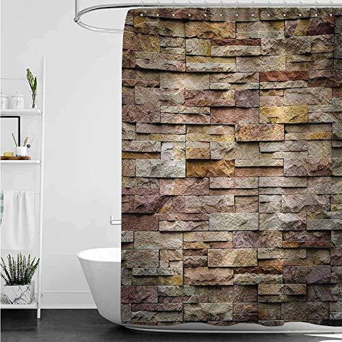 ABRAN Cortina de baño Chicas Mármol Ladrillo Urbano Pizarra Muro de Piedra con Rocas Fachada destacada Arquitectura Imagen de la Ciudad Multicolor