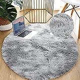 Leesentec Teppiche Runde Schlafzimmer Teppiche Wohnzimmer Anti-Rutsch-Weich Flauschiger Teppich Zottelige Fußmatten Groß für Flur (Weiß/Grau, 140)