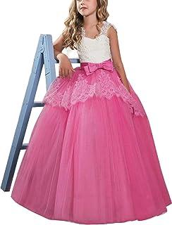 TTYAOVO Vestido de Princesa para Niñas Vestido de Fiesta de Bodas de Dama de Honor de Encaje Floral Vestido de Fiesta