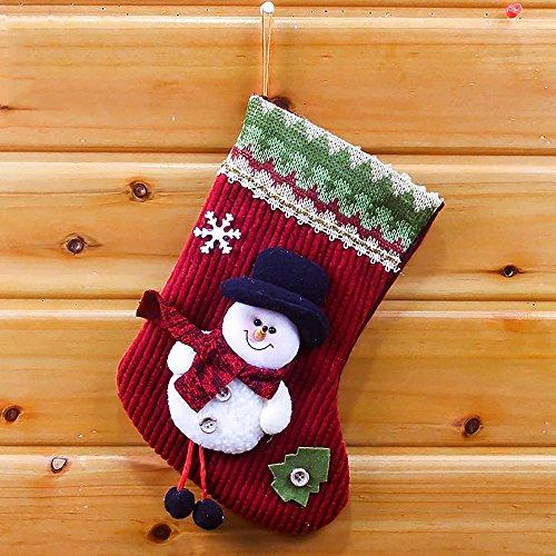 VANKER Charmant 1Pc Bas de Noël Remplisseuse 3D Bonhomme de neige Enfants Sac Cadeau de Bonbons