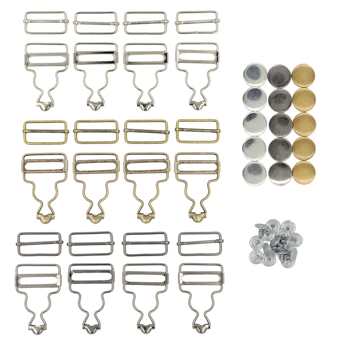 DGOL 12 Sets 3 Color Suspender Buckle & Tri-Glide Overall Buckles with 15 Sets Copper Buttons Full Set (1-1/2