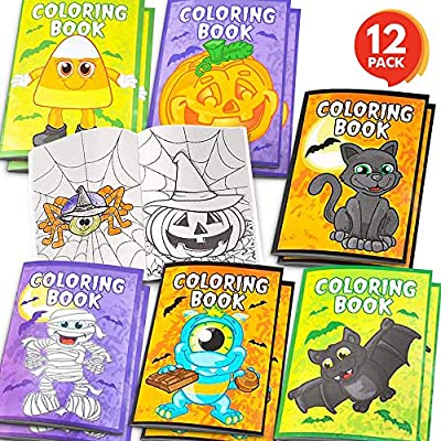 ArtCreativity Halloween Coloring Books for Kids - Pack of 12-5 Inches x 7 Inches Mini Booklet - Fun Halloween Treats Prizes - Favor Bag Filler - Birthday Party Supplies - Art Gift for Boys and Girls
