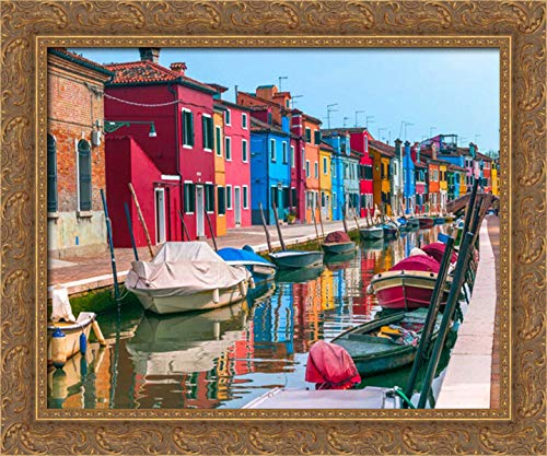 Frank, Assaf 36x28 Gold Ornate Framed Canvas Art Print Titled: Multi-Coloured Houses Next to a Canal, Burano, Italy