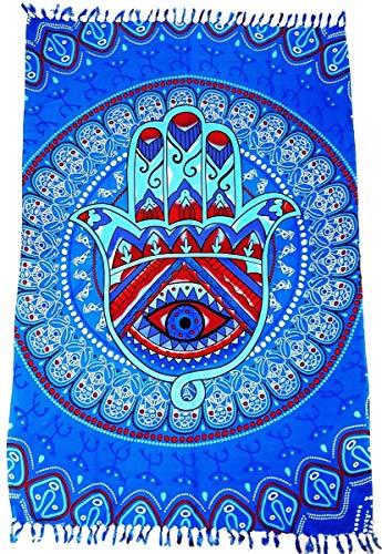 Canga De Praia Mão de Hamsá ou Mão de Fátima Várias Cores e Modelos (Azul)