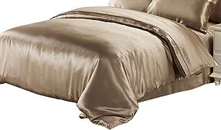 "LilySilk 25 Momme Silk Duvet Quilt Comforter Cover, Full(76"" W x 87"" L), Coffee"