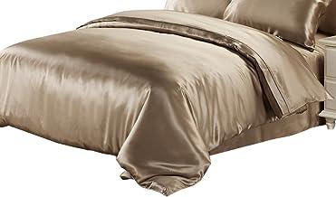 "Lilysilk 25 Momme Silk Duvet Quilt Comforter Cover, Full(76""W x 87""L), Coffee"
