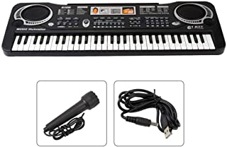 Kids Piano Keyboard, 61 Keys Portable Digital Electronic Musical Instrument with Microphone, USB Power Supply Electronic Early Learning Piano, for Boys Girls Learning Educational Toy