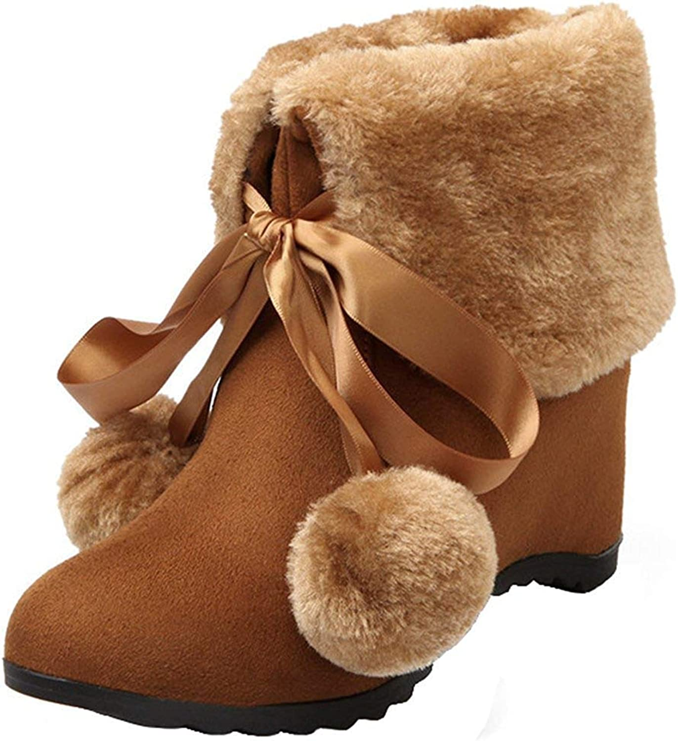 Ghssheh Women's Cute Pompons Bow Folded Top Invisible Medium Heel Short Snow Boots Round Toe Lace Up Fleeced Ankle Booties Brown 4 M US