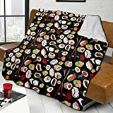 XTGOO Japanese Sushi Black Flannel Fleece Blanket Air-Conditioning Blanket Throw Ultra-Soft Velvet Plush Throw Blanket, 60x50 in