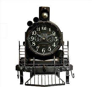 LXF Estatua Reloj De Pared Americano, Creativo Retro Locomotora Industrial Viento Pared Decoración Fondo Pared Colgante Pintura Barra