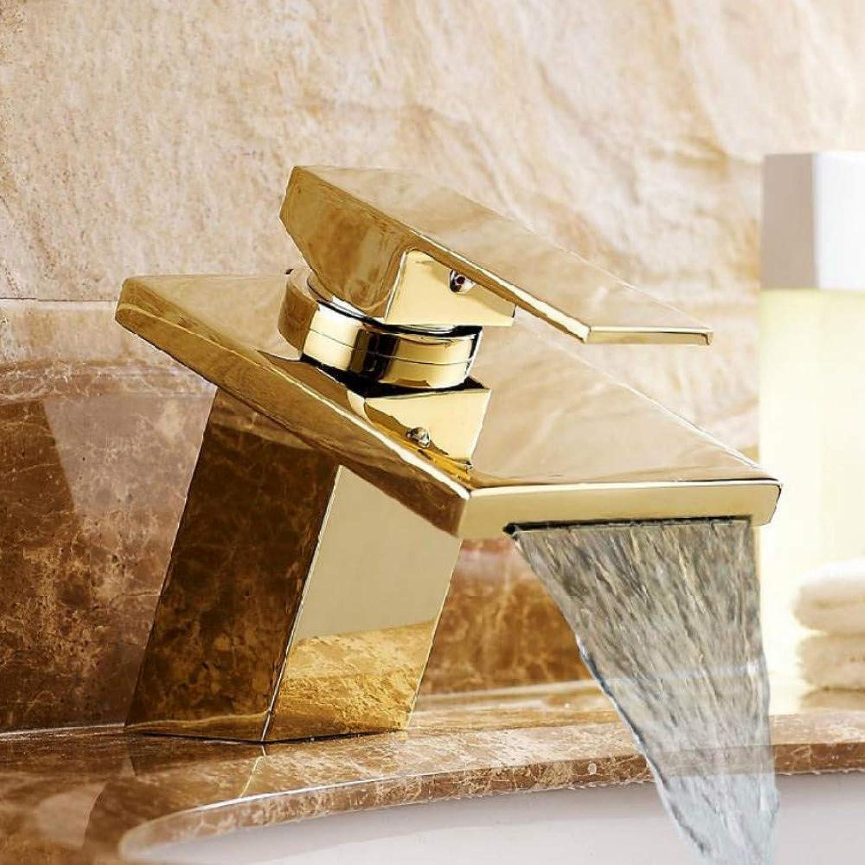 Ayhuir Waschtischarmaturen Messing Golden Wasserfall Waschbecken Wasserhahn Einhebel Quadrat Auslauf Toilette Warm Kaltmischer Wasserhhne