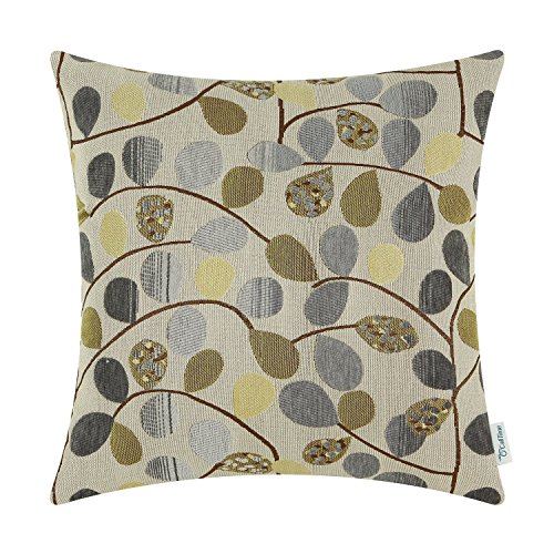 CaliTime Cushion Cover Throw Pillow Case Shell for Couch Sofa Home Decoration Luxury Chenille Cute Leaves Both Sides 18 X 18 Inches Ecru Grey