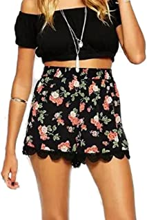 IEason Women Floral Printing High Waist Lace Shorts Summer Casual Short Pants Clearance