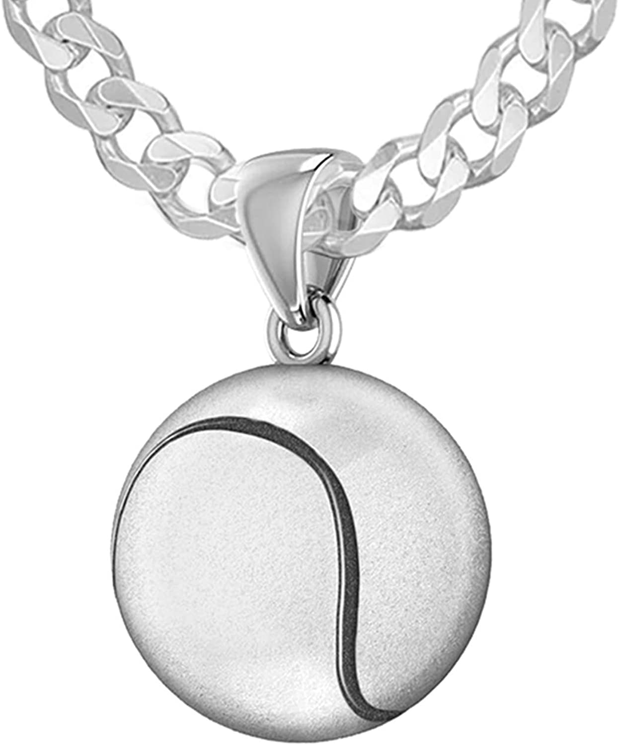 18in to 24in US Jewels And Gems Ladies 925 Sterling Silver 13mm 3D Small Tennis Ball Sports Charm Pendant Necklace