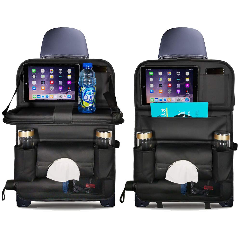 Moikin Car Seat Back Backseat Organizer with Foldable Table Tray, PU Leather Kick Mats Seat Back Protectors with Foldable Dining Table Holder Space Saving Pocket Storage for Baby and Kids (Black)