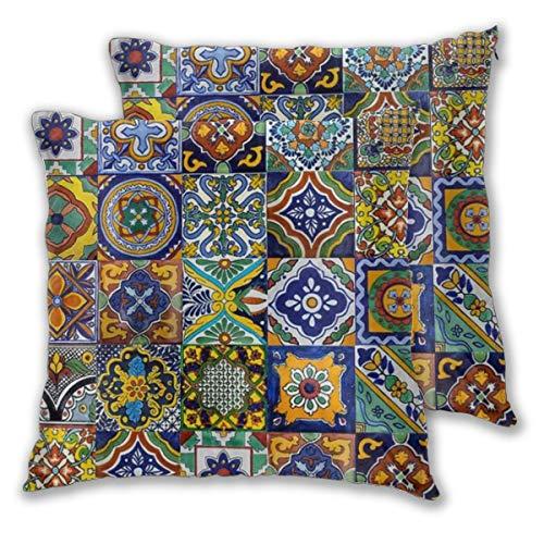 BOKEKANG Fundas de Cojines,Azulejos Mexicanos,Funda de Almohada para Cojín Cuadrado Poliéster para Sofá Cama Decoración 55x55cm