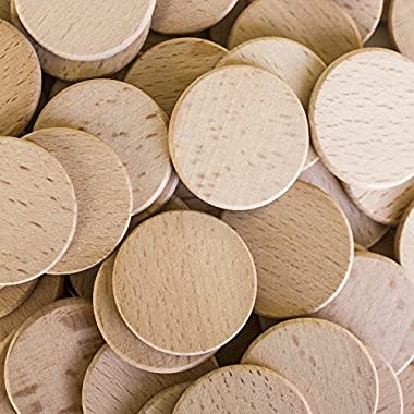 Round Unfinished 1.5  Wood Cutout Circles Chips for Arts & Crafts Projects, Board Game Pieces, Ornaments (100 Pieces)