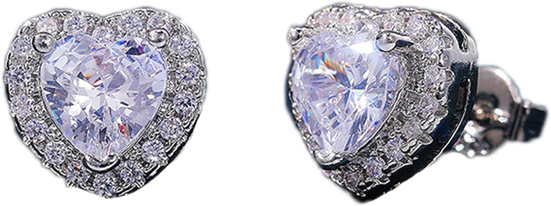 Cubic Zirconia Stud Earrings Heart Stud Earrings for Women - Shiny Earrings Stud Set
