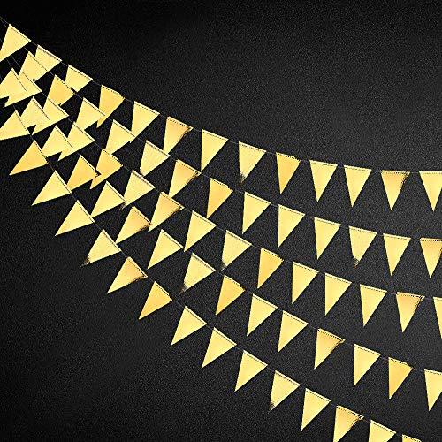 Wimpelkette mit goldenen Dreieck-Flaggen, doppelseitig, metallisches Papier, Wimpelkette, Girlande für Hochzeit, Baby, Brautparty, Geburtstag, Junggesellinnenabschied, Verlobung, Dekoration, Supplies