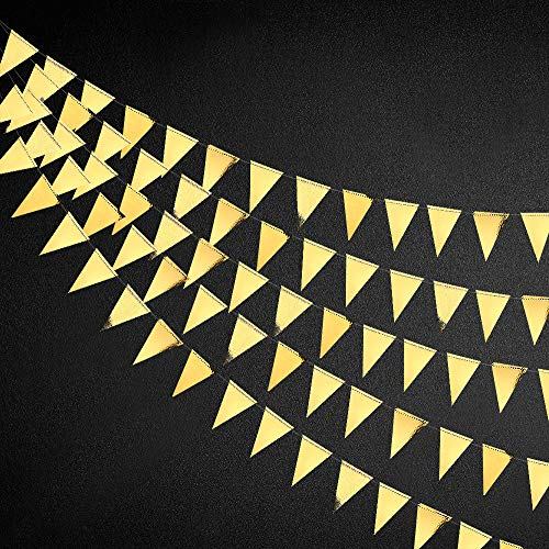 40 Ft Gold Triangle Flags Banner Double Sided Metallic Paper Pennant Bunting Garland for Wedding Baby Bridal Shower Birthday Bachelorette Engagement Christmas Hen Party Decoration Supplies