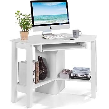 COSTWAY Mesa de Ordenador Escritorio Esquinera 120 x 60 x 76,5 cm TV Mueble para Hogar Oficina Estudio Trabajo (Blanco): Amazon.es: Hogar