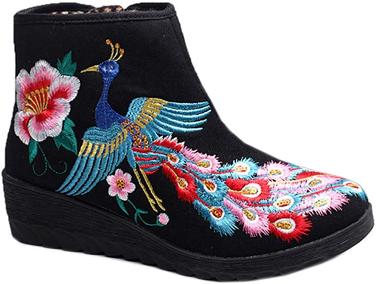 Longxing colorful Phoenix Vintage Beijing Cloth shoes Embroidered Boots