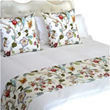 YIH Bed Runners for King Size Bed, White Floral Bedroom Bedding Decor for Hotel Guesthouse Protector Slip Cover for Pets, 1 Bed Runner + 2 Cushion Covers 102