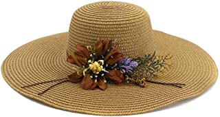 Summer hat Flower Lady Beach Hat Big Along The Sunshade Holiday Sun Hat Fashion Graceful Stalk Hat hat (Color : Coffee, Size : 56-58CM)