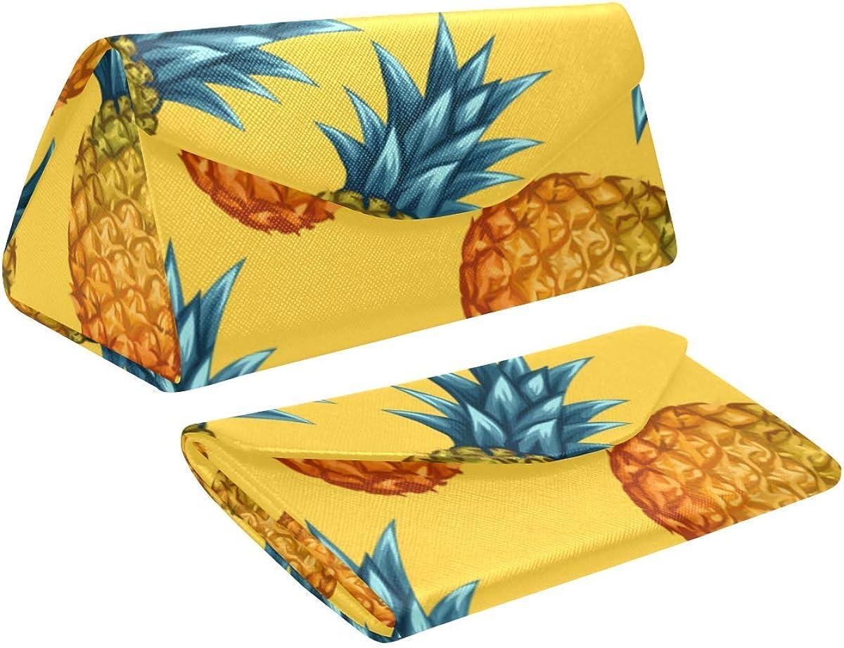 Eyeglass Cases Custom Pineapples Painted Hard Shell Foldable Portable Glasses Case