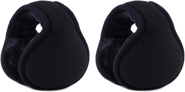 2Pcs Unisex Winter Warm Earmuffs Foldable Ear Warmers Behind the Head Earmuffs Adjustable Outdoor Ear Covers Soft Ears Protector for Men Women(Black)