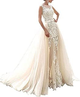 Lace Wedding Dress Detachable Skirt Tulle Mermaid Gown