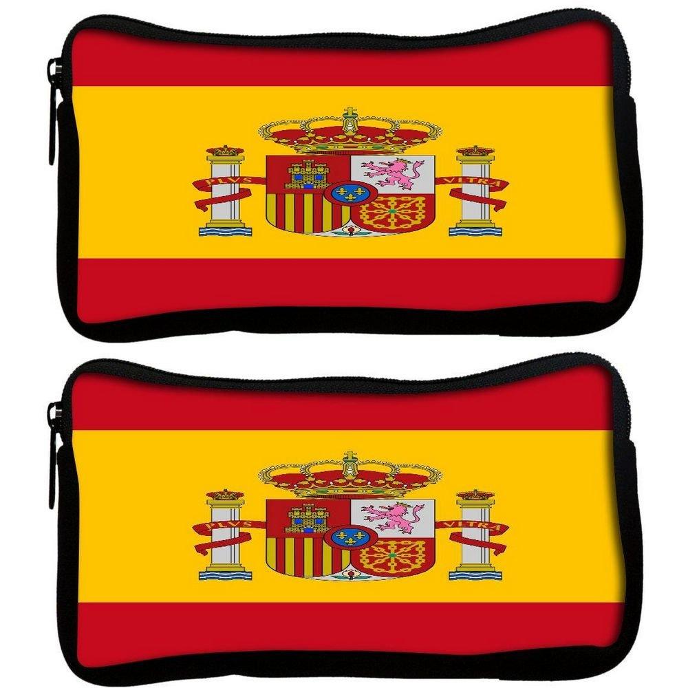 Snoogg Pack De 2 Bandera de España 2980 Tela estudiante pluma lápiz caso bolsa de cosméticos bolsa de monedero: Amazon.es: Oficina y papelería
