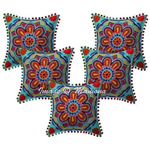 Maniona 5 fundas de cojín de algodón, 40,6 x 40,6 cm, con pompón embriodrado Suzani