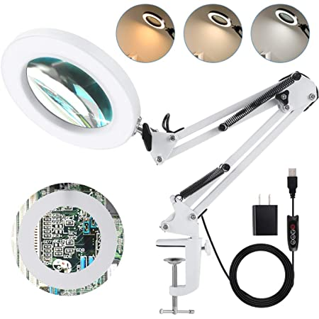 Repairing 5X Magnifying Glass Lamp with Metal Clamp 2.76 Inch Lens 24 LED Lights 3 Color Modes Magnifier for Circuit Boards Reading Crafts Artwork Sewing