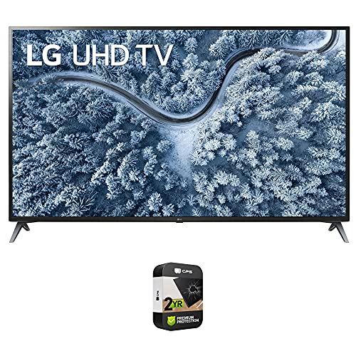 LG 75UP7070PUD 75 Inch LED 4K UHD Smart webOS TV (2021 Model) Bundle with Premium 2 Year Extended Protection Plan