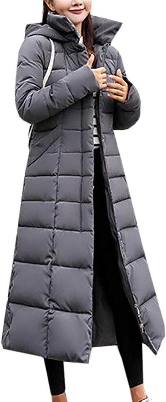 Ssjjsacv Women's Long Down Coat with Faux Fur Hood Maxi Down Puffer Jacket