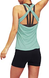 Bestisun Workout Yoga Fitness Tops for Women Crossback Running Tank Tops Exercise Gym Activewear