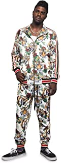 Men's Side Stripe Zipper Jacket Drawstring Waistband Tracksuit