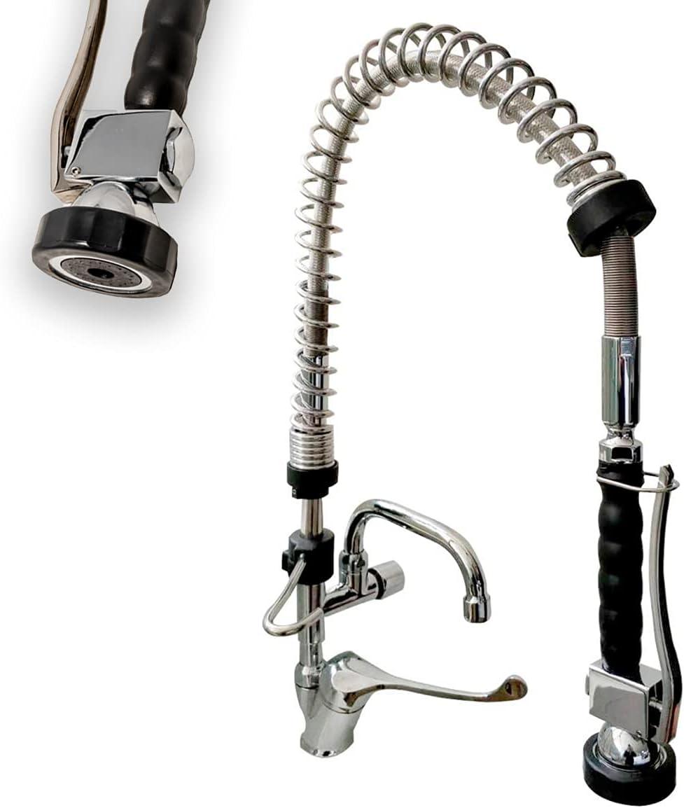 Grifo extensible rociador ducha para fregadero de cocina uso hogar y profesional, con alcachofa muelle flexo negra pulverizadora de aclarado y grifo monomando mezclador de codo.