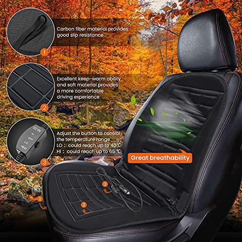 Sitzheizung Auto Auflage 12V, Heizauflage Heizkissen Auto Universal Sitzauflage mit Zeit Temperatur Kontrolleur Winter für Auto