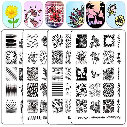 Ejiubas Nail Stamping Plates Nail Stamping Kits Double Sided Nail Stamp Image Plates for Nail Art Design EJB-X09 X13