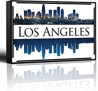 wall26 - City Skyline Series - Los Angeles - Colorful Urban Decor - Sunsets and Silhouettes Famous Buildings and Landmarks - Canvas Art Home Decor - 16x24 inches